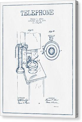 Calling Canvas Print - Telephone Patent Drawing From 1898  - Blue Ink by Aged Pixel