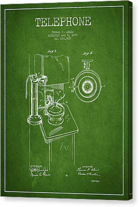 Telephone Patent Drawing From 1898 - Green Canvas Print by Aged Pixel