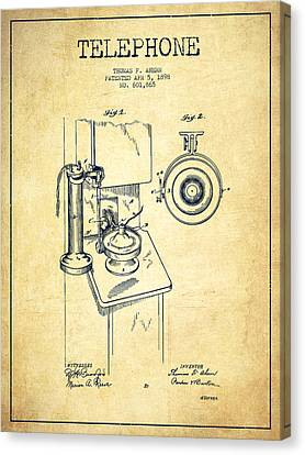 Telephone Patent Drawing From 1898 - Vintage Canvas Print by Aged Pixel