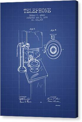 Calling Canvas Print - Telephone Patent From 1898 - Blueprint by Aged Pixel
