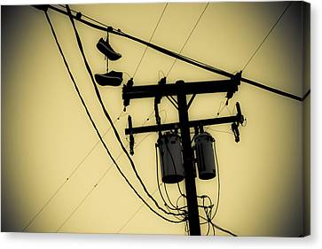 Telephone Pole And Sneakers 1 Canvas Print by Scott Campbell