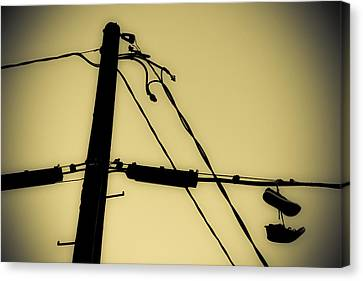 Telephone Pole And Sneakers 2 Canvas Print by Scott Campbell