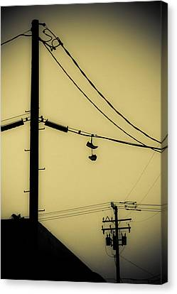 Telephone Pole And Sneakers 3 Canvas Print by Scott Campbell