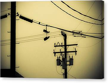 Telephone Pole And Sneakers 4 Canvas Print by Scott Campbell