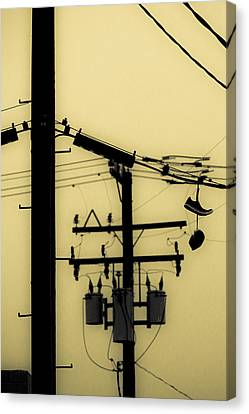 Telephone Pole And Sneakers 5 Canvas Print