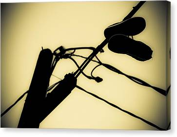 Telephone Pole And Sneakers 6 Canvas Print by Scott Campbell