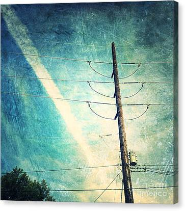 Telephone Pole And Wide Contrail Canvas Print by Amy Cicconi