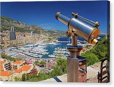 Telescope With View Of Monte-carlo Canvas Print