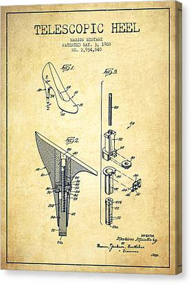Telescopic Heel Patent From 1960 - Vintage Canvas Print