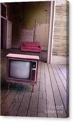 Television In Old Abandoned Building Canvas Print by Jill Battaglia