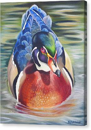 Wood Duck Canvas Print - Telling by Phyllis Beiser