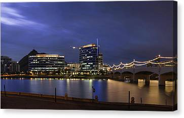 Tempe Town Lake Blue Pano Canvas Print by Dave Dilli