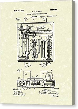Temperature Regulator 1925 Patent Art Canvas Print by Prior Art Design