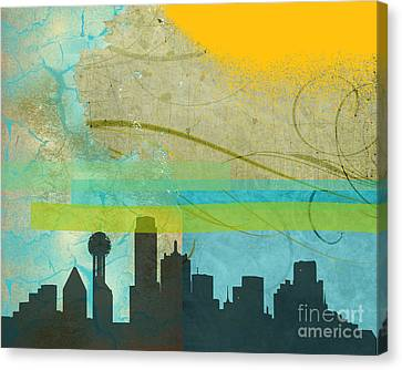 Dallas Skyline Canvas Print - Tempestuous City by Deborah Willow