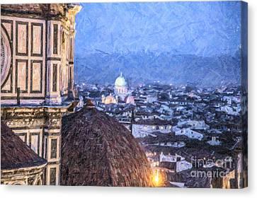 Tempio Maggiore And Duomo Florence Canvas Print by Liz Leyden