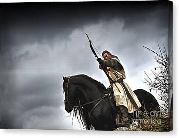 Templar Knight Friesian I Canvas Print by Holly Martin