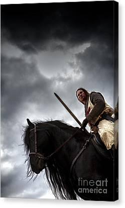 Templar Knight Friesian Iv Canvas Print by Holly Martin