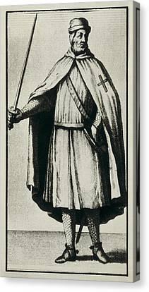 Templar Knight Wearing A War Dress Canvas Print by Everett
