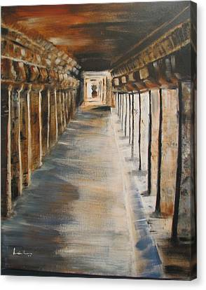 Canvas Print featuring the painting Temple Aisle-mandapam by Brindha Naveen