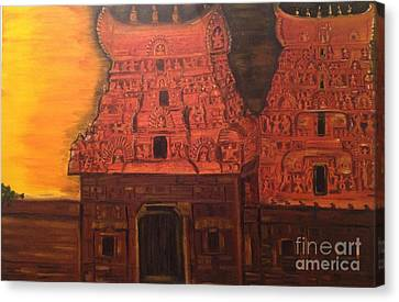 Canvas Print featuring the painting Temple At Dawn 2 by Brindha Naveen