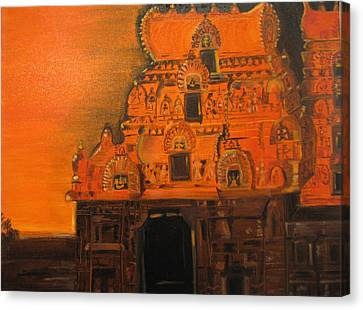 Canvas Print featuring the painting Temple At Dawn by Brindha Naveen