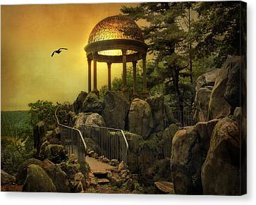 River View Canvas Print - Temple At Dusk by Jessica Jenney