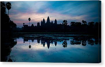 Temple At The Lakeside, Angkor Wat Canvas Print by Panoramic Images