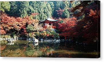 Temple Behind A Pond, Daigo-ji Temple Canvas Print by Panoramic Images