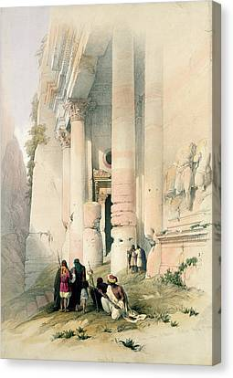 Petra Canvas Print - Temple Called El Khasne by David Roberts