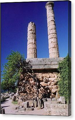 Temple Columns At Delphi Canvas Print by John malone