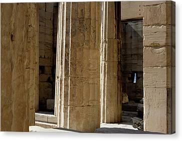 Temple Columns With Window Peek Canvas Print by Lorraine Devon Wilke