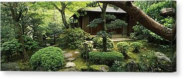 Temple In A Garden, Yuzen-en Garden Canvas Print by Panoramic Images