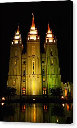 Temple In Salt Lake City Canvas Print by Jeff Swan