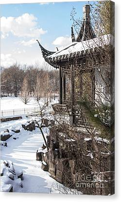 Temple In Snow Canvas Print