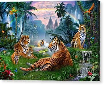 Temple Lake Tigers Canvas Print by Jan Patrik Krasny