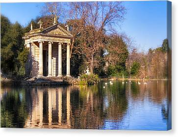 Temple Of Aesculapius In Villa Borghese - Rome Canvas Print by Mark Tisdale
