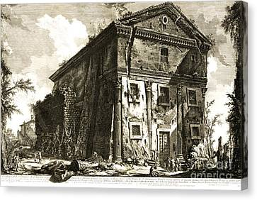 Temple Of Bacchus Rome 1746 Canvas Print by Padre Art