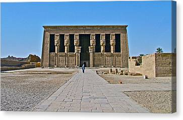 Temple Of Hathor Near Dendera-egypt Canvas Print by Ruth Hager