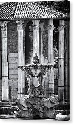Temple Of Hercules And Fountain Of The Tritons In Rome Canvas Print by Melany Sarafis