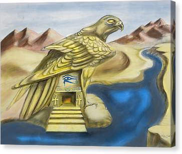 Temple Of Horus One Of Three Canvas Print by Michael Cook