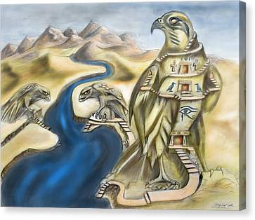 Temple Of Horus Three Of Three Canvas Print by Michael Cook