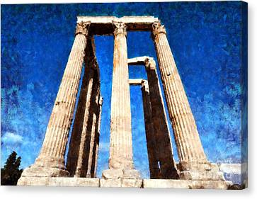 Temple Of Olympian Zeus  Canvas Print by George Atsametakis