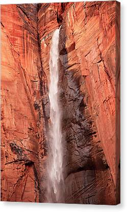 Zion National Park Canvas Print - Temple Of Sinawava Waterfall, Red Rock by William Perry
