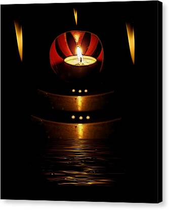 Candle Lit Canvas Print - Temple Of The Light by Pepita Selles