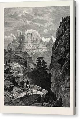 Thomas Moran Canvas Print - Temple Of The Virgin, Mu-koon-tu-weap Valley by English School