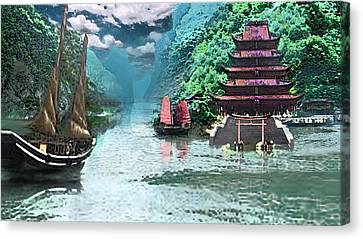 Temple On The Yangzte Canvas Print