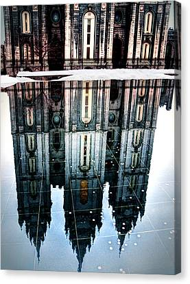 Canvas Print featuring the photograph Temple Reflection by Jim Hill