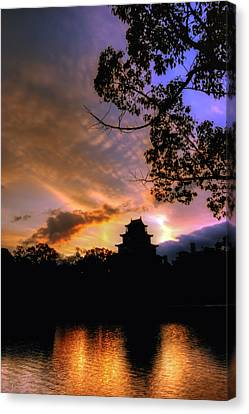 Canvas Print featuring the photograph A Temple Sunset Japan by John Swartz