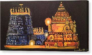 Canvas Print featuring the painting Templelights by Brindha Naveen