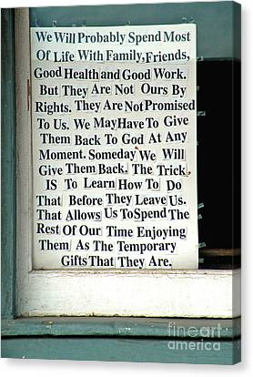 Temporary Gifts Canvas Print